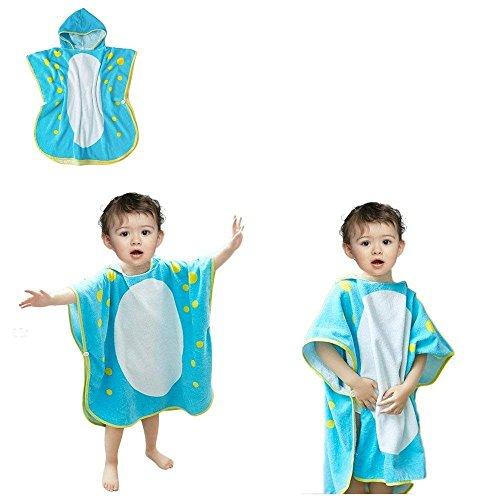 OAMORE Baby Handtuch Breathable Warm Kinder Strandponcho Polygonal Dinosaurier Kapuzenhandtuch Badetücher (dolphin)