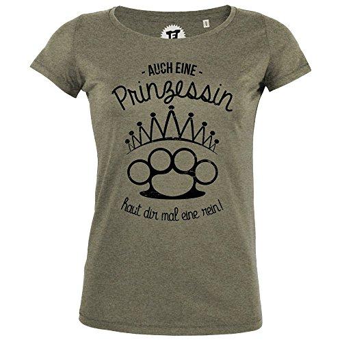 FABTEE - Auch eine Prinzessin Haut dir mal eine rein - Damen T-Shirt Größen S-2XL, Größe:2XL, Farbe:Oliv meliert