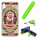 [Ashley Cases] for Galaxy A50 Cover Case Skin with Flexible Phone Stand - Beauty and The Beast Rose Mirror
