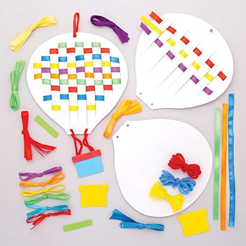 """Baker Ross Flecht-Bastelsets """"Heißluftballons"""" (6 Stück) – Bänder und Schablonen für Kinder zum Gestalten"""