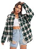 SweatyRocks Women's Long Sleeve Collar Long Button Down Plaid Shirt Blouse Tops Green Beige Large