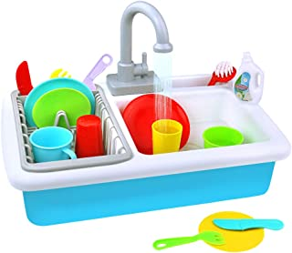 Fajiabao Play Kitchen Toy Sink Playset Utensils Play Dishes Accessories Plates Faucet with Running Water Pretend Drainer Set Gift for Toddlers Kids Boys Girls