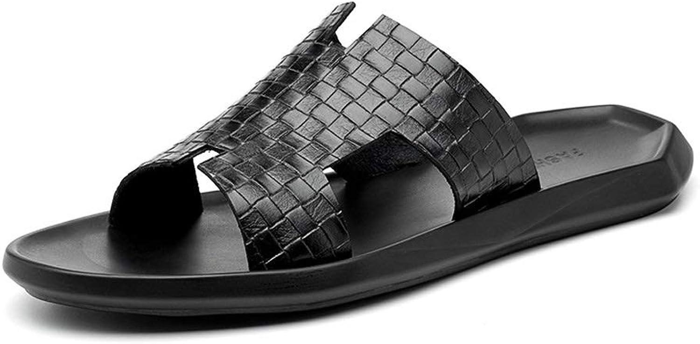 LiXiZhong Men's Casual Leather Sandals Open Toe Sandals Outdoor Fisherman Trekking shoes Summer Sandals (color   Black, Size   8.5 UK)