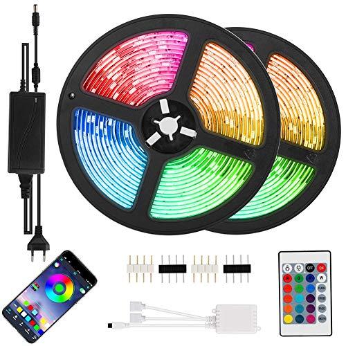 LED Streifen 10m, Bluetooth LED Strip 2x 5M RGB 5050 LED Band IP65 Wasserdicht Lichtband mit APP Bluetooth Kontroller und Fernbedienung für Innen außen Beleuchtung Deko [Energieklasse A+]