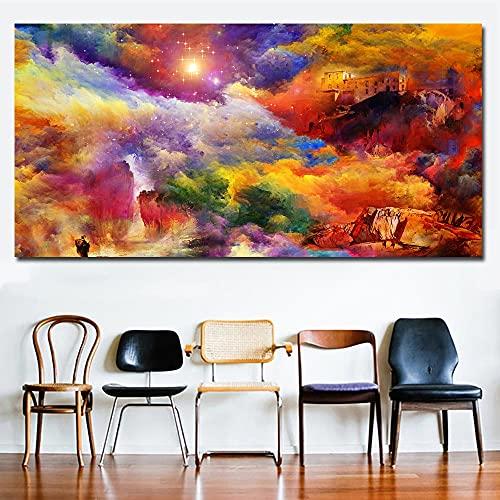 Cuadro En Lienzo Cuadro Abstracto con Nubes de Colores, Carteles de Cielo e imágenes para la decoración de Paredes del Arte de la Sala de Estar,40x80cm,Pintura sin Marco