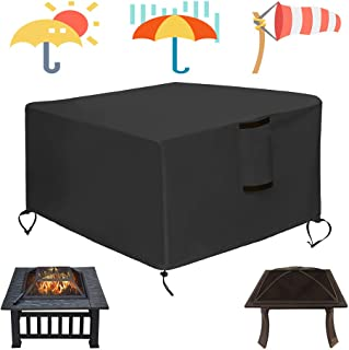 Saking Gas Fire Pit Cover Square 36x36x21 inch - Waterproof Windproof Anti-UV Heavy Duty Patio Firepit Furniture Table Covers