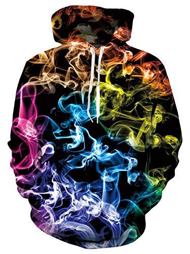 ALISISTER Hombres Mujeres Hoodies Ligero Diversión Fumar Colorido Impresora Sudadera Con Capucha Gráfico 3D Manga Larga Cálido Fleece Hooded Pullover Sweatshirt L