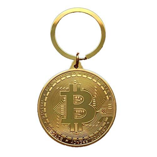 Godya Llavero de Bitcoin Chapado en Oro Adorno de Moneda de...