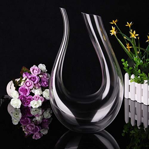 Liergou-Home Wein Sekt Decanter Glas DecanterU förmige Flasche Krug Ausgießer Belüfter Bleikristallglas (Farbe : Transparent, Größe : 35X20CM)