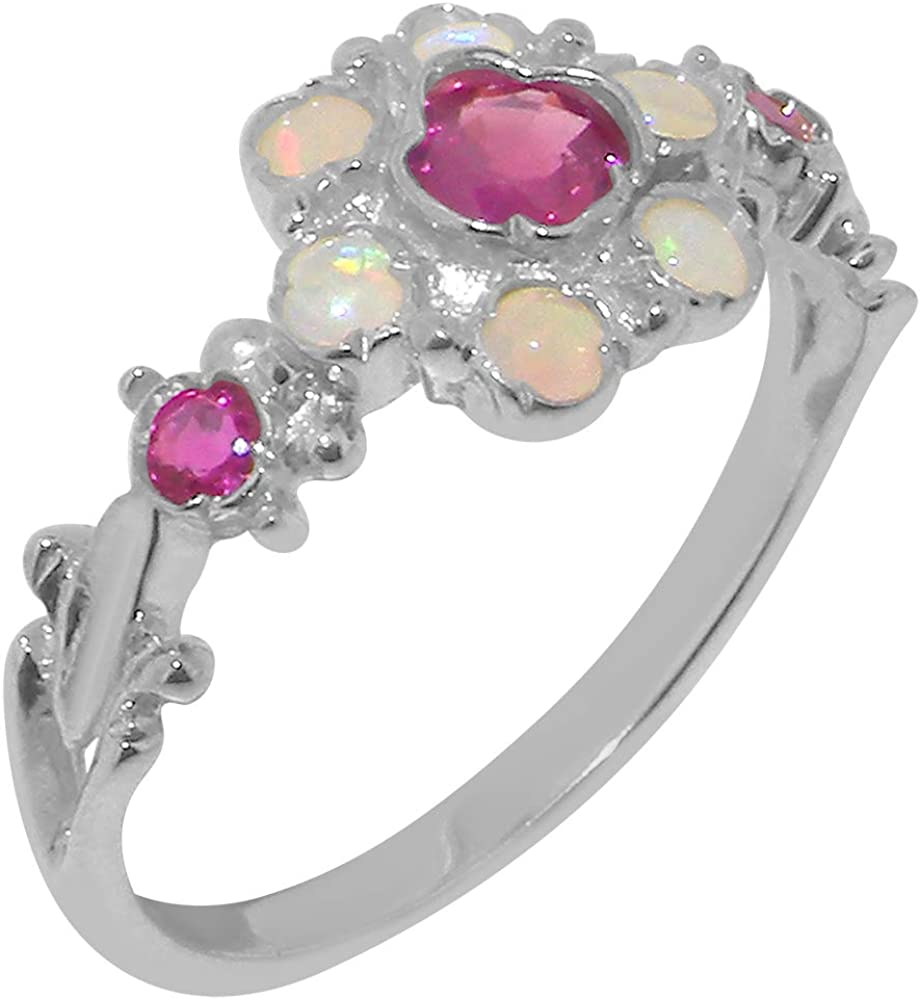 925 Max 73% OFF Sterling Silver Natural Ruby Ranking TOP17 Opal Ring - Womens Antique Si