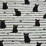 Jersey schwarze Katzen, gestreift, weiß (50cm x 150cm)