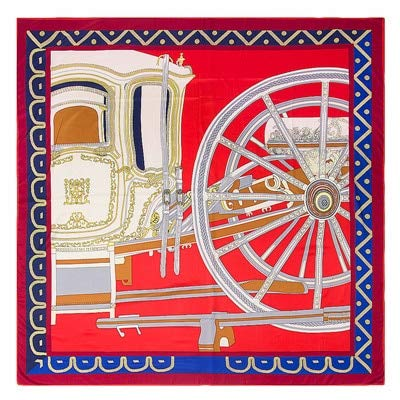 DFGSDFB - Bufanda de seda para mujer, diseño geométrico, con ruedas de carruaje, bufandas y envolturas de seda, color rojo
