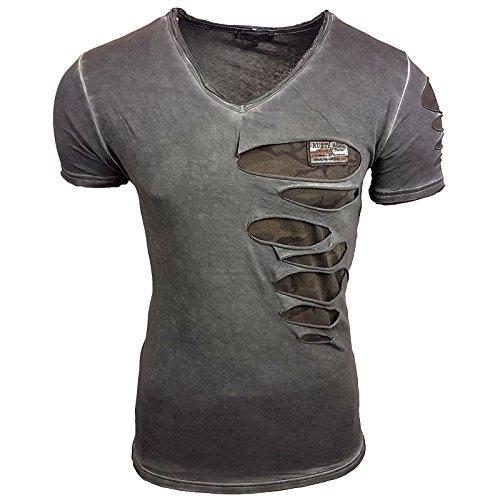 T-Shirt Herren Shirt Kurzarm Verwaschen Destroyed Camouflage Camel S - XXL 053, Größe:2XL, Farbe:Anthrazit