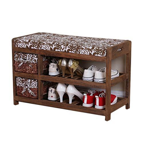 Brown Shoe Bench Chaise en bois Double rangement Rack Avec panier de rangement Canapé Porte Reste Salon Balcon Corridor 70 cm * 32 cm * 43 cm