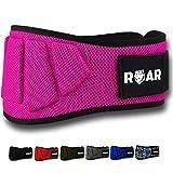Roar® Cintura da Palestra per Sollevamento Pesi - Power Belt per Crossfit, Powerlifting, Weightlifting, Fitness eserzio, Bodybuilding, Gym. Cintura da Allenamento (Rosa, S)