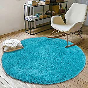 crib bedding and baby bedding yoh fluffy soft round area rugs for kids girls room princess castle plush shaggy carpet cute circle furry nursery rug for teen's bedroom living room home decor floor carpet 4'x4' teal blue
