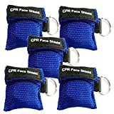 5pcs CPR Face Shield Mask Keychain Ring Emergency Kit CPR Face Shields for First Aid or CPR Training (Blue-5)