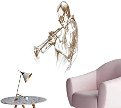 Wall Painting Jazz Man Play Trumpet Pose Sketch Style Image Solo Show Ative Brow High-Definition Design,12