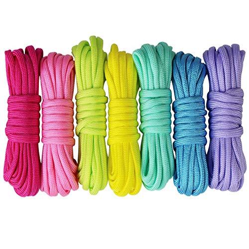 Paracord Set Schnüre Armband Fallschirmschnur Survival Nylon Seil DIY Schlüsselanhänger Anhänger Bonbonfarben 7Er