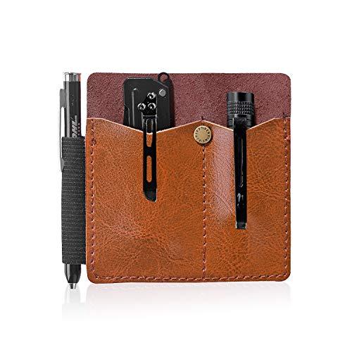 CRIPOP Leather EDC Organizer PouchEDC Carrier for Knife/Pen/FlashlightB Type