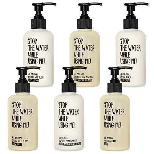 STOP THE WATER WHILE USING ME! Juego de spa All Natural para el hogar, incluye jabón, bálsamo de manos, gel de ducha, champú, acondicionador y loción corporal, en dispensadores rellenables de 200 ml.