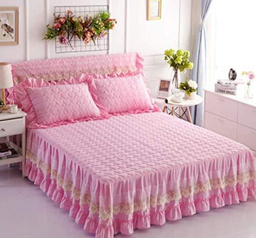 Pure kleur wassen katoen gewatteerde bed rok dekbed enkel stuk antislip bedlaken stofbescherming matrasbeschermer dubbele 180x220 cm