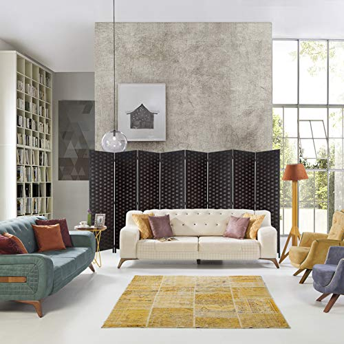 """6ft. Tall- 16"""" Wide- Room Dividers Double Sided Woven Fiber ,Double Hinged Privacy Screen, Partition & Wall Divider, Folding Privacy Screens 8 Panel, Room Dividers-Dark Mocha, Freestanding, 8 Panels"""