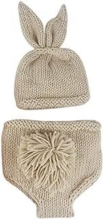 Newborn Baby Boy Girl 3pcs Photography Props Costume Easter Bunny Handmade Crochet Knit Rabbit Beanie Diaper Hat Set