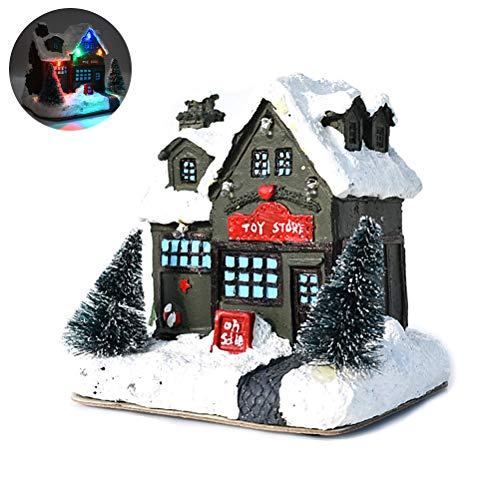 barsku LED Light Up Christmas Village Scene, Resina Christmas Scene Village Houses Ciudad Decoración navideña para el hogar Fiesta