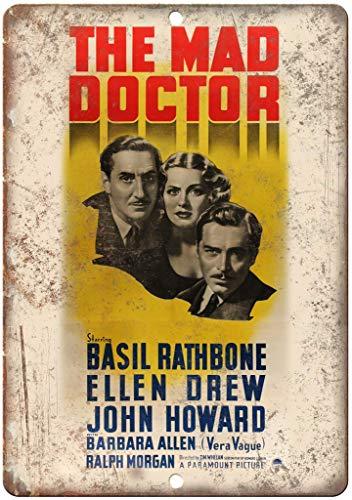 """Targa in metallo con scritta in lingua inglese """"None Brand The Mad Doctor Film"""" in stile rétro da parete in latta"""