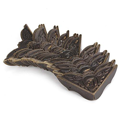 BQLZR 52x15mm Alt Antik Bronze Schreibtisch Kantenabdeckung Eisen Kasten Eckenschutz Packung mit 20