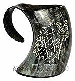 Mug Game of Thrones avec loup sculpté pour bière, viking, corne à boire