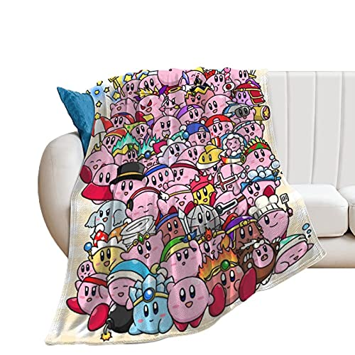 Kirby Wearable Throw Blanket Fuzzy Soft Micro Fleece Ultra Fuzzy Blanket for Couch Bed Living Room (M 50'x40') Warm&Lightweight