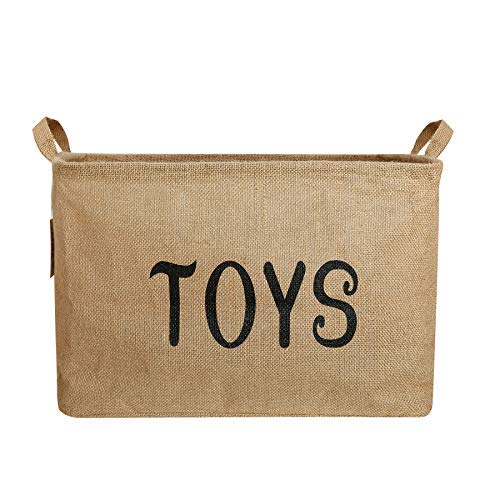 Toy Storage Basket, Zonyon 17'' Jumbo Large Collapsible Foldable Storage Container,Baby Bin,Hamper Organizer with Handles for Boys,Girls,Kids,Toys,Office,Bedroom,Closet,Gift,Burlap