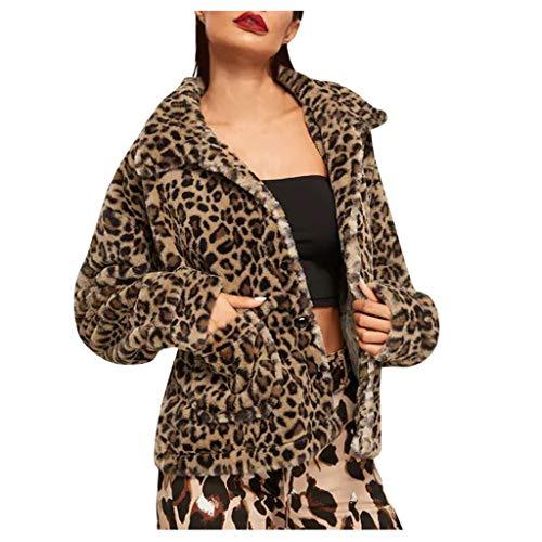 Plot Damen Fleecemantel Leopard Drucken Mantel Revers Plüschjacke Winter Winterjacke Warme Outwear Teddyfleece Jacke Fleecejacke