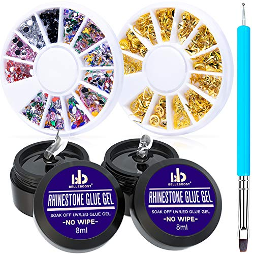 Nail Art 8ml×2 NO WIPE Rhinestone Glue Gel Adhesive Resin Gem Bead Stone Jewelry Diamond Gel Nail Polish Clear Decoration With Nail Rhinestones(Acrylic+Rivet)&Dual-Use Pen Tool (LED Light Cure Needed)