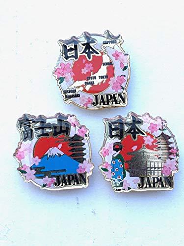 マグネット3個入り 桜柄入り 日本地図/金閣寺/富士山 専用台紙付き Magnet