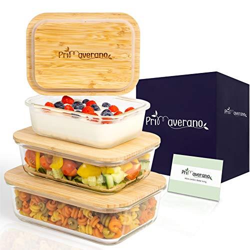 Primaverano® Glasbehälter mit Deckel [3er Set] - Premium Glasschüssel mit Deckel aus nachhaltigem Bambus – Vorratsdosen aus Glas -Glasdose mit Deckel - Frischhaltedosen Glas- Vorratsbehälter