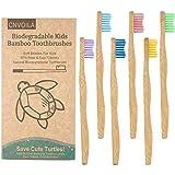spazzolino da denti in bambù, ecologico per bambini, con setole ondulate