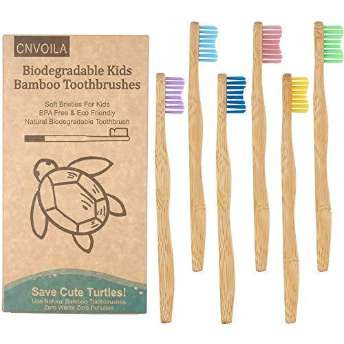 Cepillo de dientes de bambú, respetuoso con el medio ambiente para bebés, cepillos de dientes suaves de viaje, 6 paquetes, cerdas onduladas