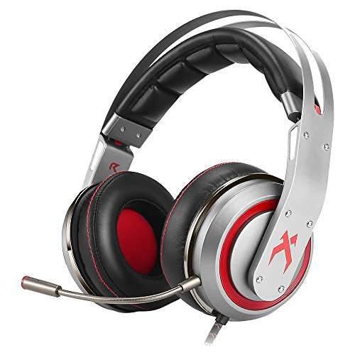 Gaming Headset Surround Sound, T19 Over Ear Gamer Headphones with Microphone for PC PS4 Laptop (Grey)