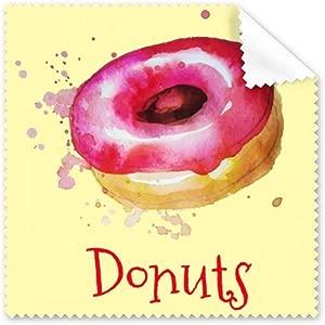 DIYthinker Watercolor Hand-Painted Pink Doughnut Dessert Glasses Cloth...
