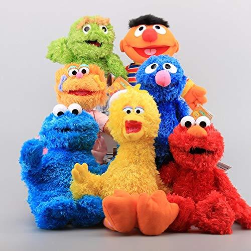 agzhu 7 Uds 22Cm Barrio Sésamo Elmo Cookie Grover Juguetes de Peluche Big Bird Zoe Ernie Animales de Peluche niños muñecos Suaves