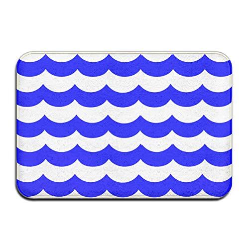 SESILY Felpudo azul marino con diseño de olas océano, antideslizante, para entrada de exterior o interior, 40 x 60 cm