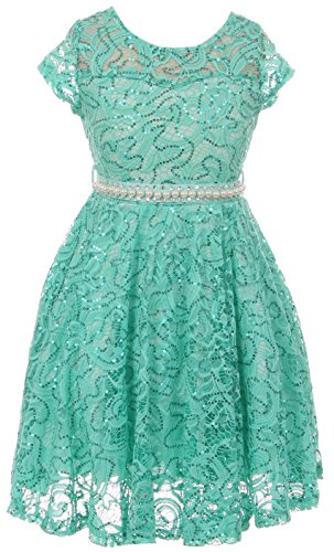 BNY Corner Big Girl Cap Sleeve Floral Lace Glitter Pearl Holiday Party Flower Girl Dress Jade 16 JKS 2102