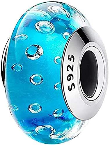Charm in vetro di Murano, con nucleo in argento Sterling 925, compatibile con braccialetti in stile europeo e Argento, colore: Vetro di Murano azzurro, cod. Murano Glass 001