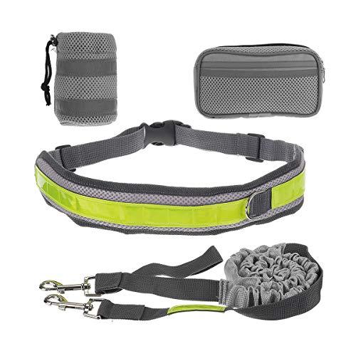 FEIYI Freie Hände frei Haustier Hund Traktion Seil Outdoor Walking Laufen Taille Gürteltasche Tasche Set (Farbe: Grau)
