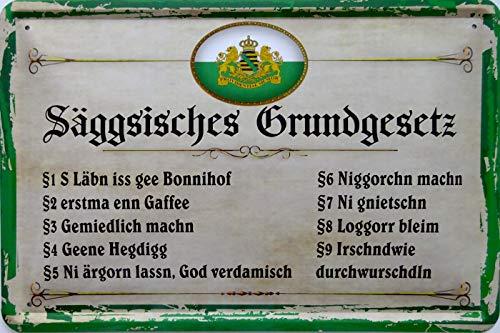 vielesguenstig-2013 Blechschild Schild 20x30cm - sächsisches säggsisches Grundgesetz Vintage Spruch Sachsen