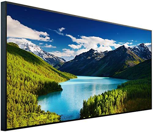 Ecowelle Infrarotheizung mit Bild | 1200 Watt | 120x60x2cm | Infrarot Heizung| | Made in Germany| d 28 Colorado Berge und Wasser