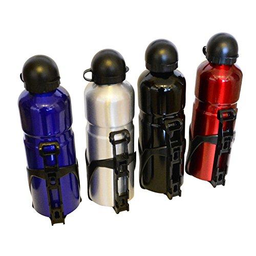 all-around24 Sportflasche 750ml mit Fahrrad Flaschenhalter - Aluminium Radflasche BPA frei - Trinkflasche Fahrrad - Sport Wasserflasche Silber
